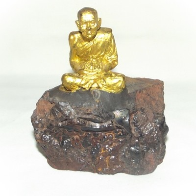 Luang Por Tuad sitting on Lek Lai Adamantine substance (Gold Painted) - Bucha Statue 4 x 3.8 x 2 Inches - Blessed by Luang Phu Khai, Luang Por Prohm, and other Khao or Master Monks