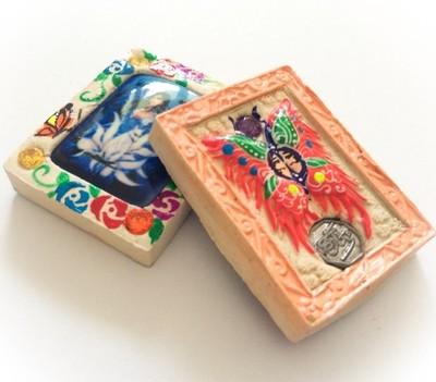 Taep Pamorn Pim Lek Mini - Butterfly King Heart - Peach Frame White Powders + 5 Gems + 9 Tails Fox Demoness Enchantress- Sae Yid 60 Edition