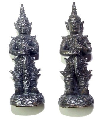 Taw Waes Suwan Song Hnaa (two faced Waes Suwann with Deva and Yaksa face) - 5 Cm High 3 Takrut Luang Phu Phad - Wat Ban Gruad 2552 BE