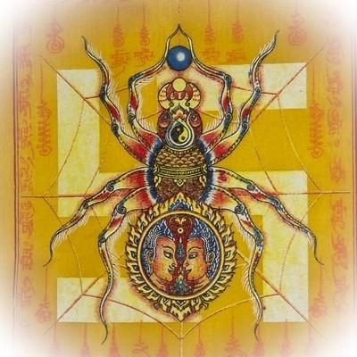 Pha Yant Maeng Mum Maha Lap - Money Catching Spider (yellow) - Kroo Ba Krissana Intawanno- Sae Yid 60 Edition 2557 BE