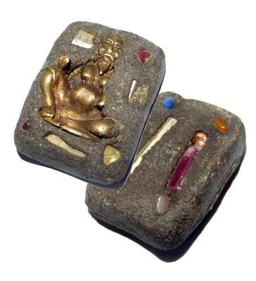 Khong Aathan Choo Chok Maha Sanaeh Riak Jidt Riak Sap - Gems, 2 Takrut + Chin Aathan - Necromantic Occult Spellbound Lucky Beggar - Ajarn Apichai Decha