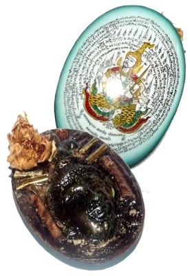 Tewada Long Hong (Paetch Payatorn) - Chak Faa - Blue Face Large Locket- 1 Rak Sorn Flower, 1 Deva, 1 Black Pearl 6 Takrut - Nia Kajia Maha Sanaeh 2554 BE edition - Luang Phu In