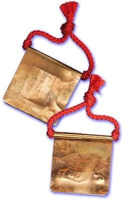 Phaen Yant Hneeb Metta Maha Niyom Dtamrap Boran Lanna (Ancient Lanna Style folded Yantra Foil Takrut with red cord) 'Sang Hor Chan' 2555 BE Edition - Kroo Ba Lerd - Wat Tung Man Dtai
