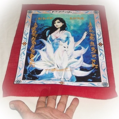 Pha Yant Jing Jork Gao Hang (Version 2) - 9 Tails Fox Demoness Enchantress - Red Sacred Yantra Cloth- Kroo Ba Krissana - Sae Yid 60 Edition