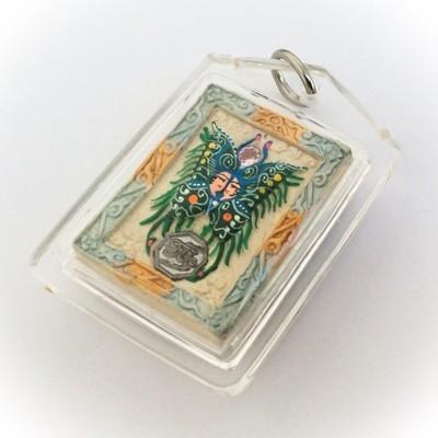 Taep Pamorn Pim Lek Mini - Butterfly King Heart - Pastel Blue Frame White Powders + 5 Gems + 9 Tails Fox Demoness Enchantress - Sae Yid 60 Edition Free Casing