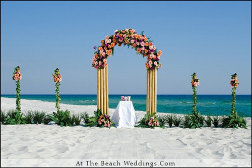 Bamboo Orange Sunset - Beach wedding Package 00020