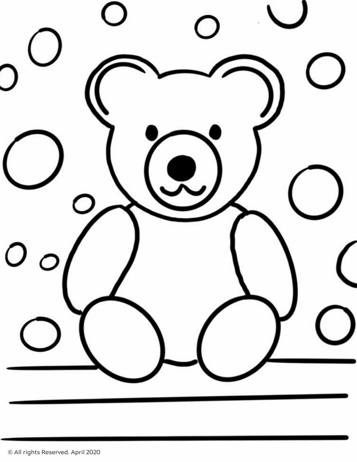 FREE Download & Print Teddy Bear Coloring Page