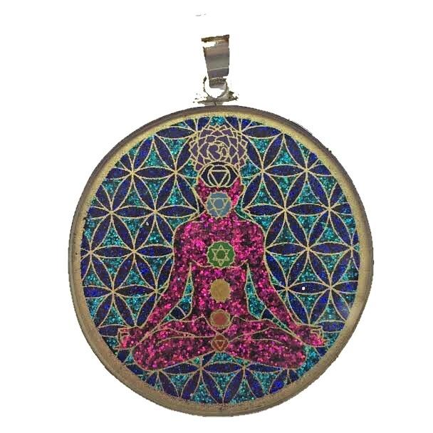 Pingente Grande Geometria Sagrada Chakra Man (coral vermelho)