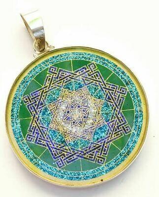 Pingente Grande Geometria Sagrada Estrella de Lakshmi Abundancia (malaquita verde)