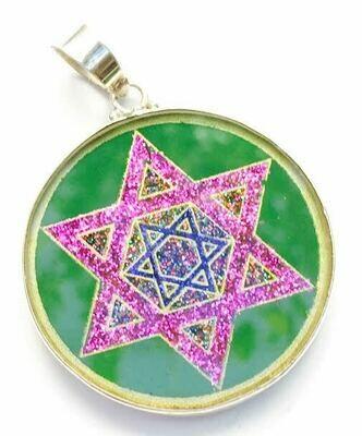 Pingente Grande Geometria Sagrada Estrella de David (malaquita verde)