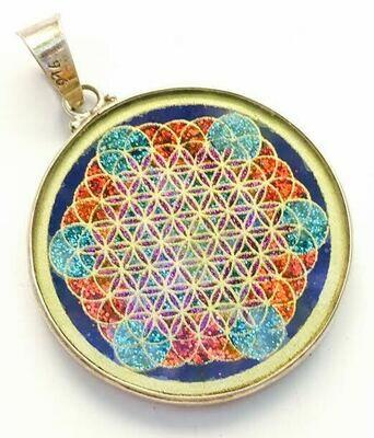 Pingente Grande Geometria Sagrada Fruta da Vida (lapis lazuli)