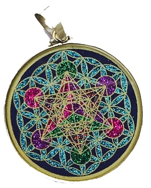 Pingente Grande Geometria Sagrada Cubo de Metatron en Flor da Vida (lapis lazuli)