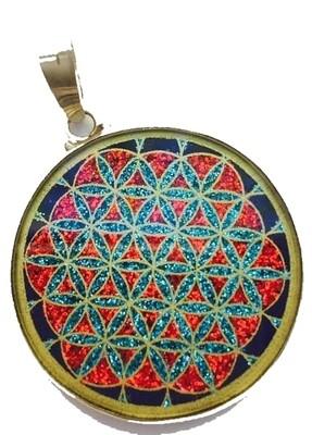 Pingente Grande Geometria Sagrada Flor da Vida (lapis lazuli)