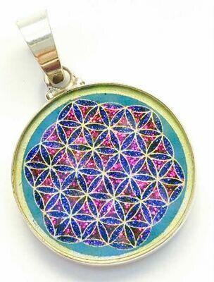 Pingente Pequeno Geometria Sagrada Flor da Vida (turquesa)