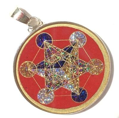 Pingente Pequeno Geometria Sagrada Cubo de Metatron (coral vermelho)