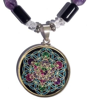 Colar Grande Geometria Sagrada Metatron em Flor da Vida (turmalina preta)