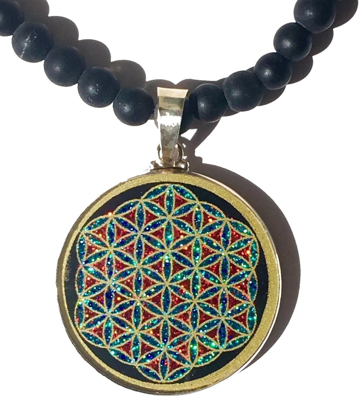 Colar Grande Geometria Sagrada Flor da Vida (turmalina preta e Vishnu beads)