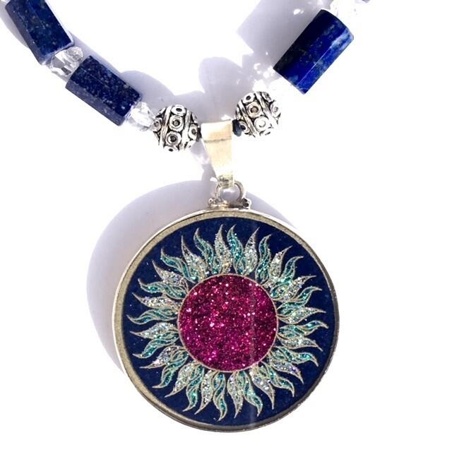 Colar Grande Geometria Sagrada Sol Fogo (lapis lazuli e amazonita)