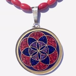 Colar Grande Geometria Sagrada Semente da Vida (lapis lazuli e coral vermelho )
