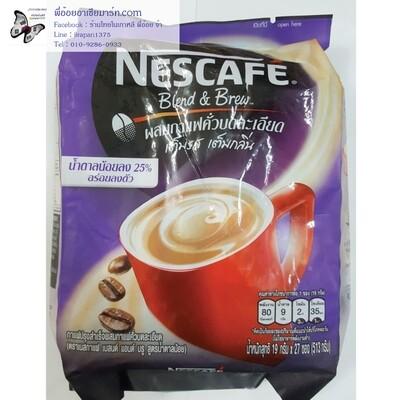 กาแฟปรุงสำเร็จผสมกาแฟคั่วบดละเอียด  ตราเนสกาแฟ เบลนด์ แอนด์ บรู สูตรน้ำตาลน้อย