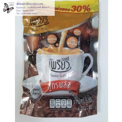 กาแฟปรุงสำเร็จชนิดผง (แพค 5 ซอง x 16 กรัม) สูตรพลัส ไม่ผสมน้ำตาล   ตราเพียวคอฟฟี่