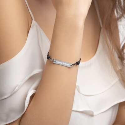 EBGM Engraved Silver Bar String Bracelet