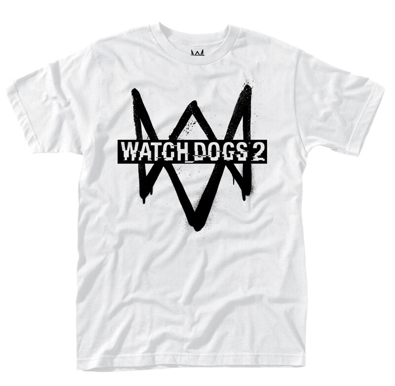 Watchdogs 2 Black Logo on White Tee