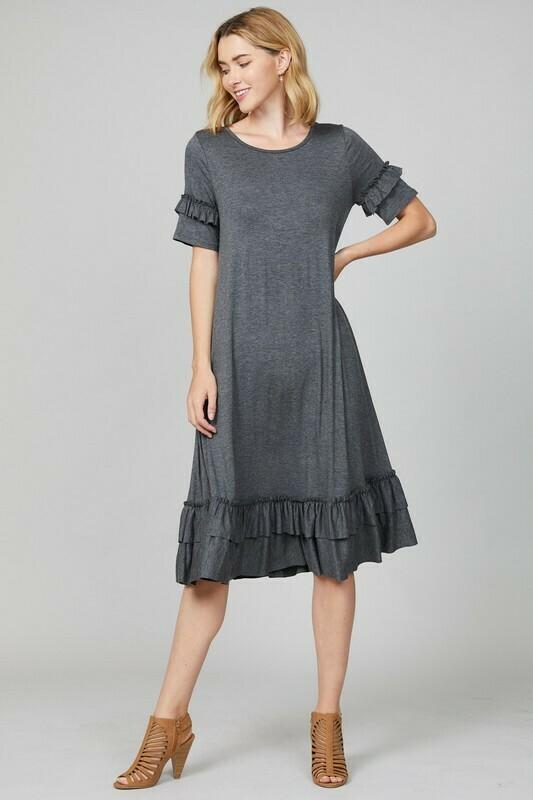 Dare to be Casual Gray Midi Dress with Ruffle Trim