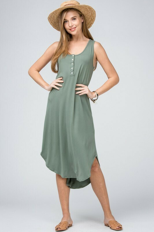 My Car Line Keep it Casual Sleeveless Henley Dress