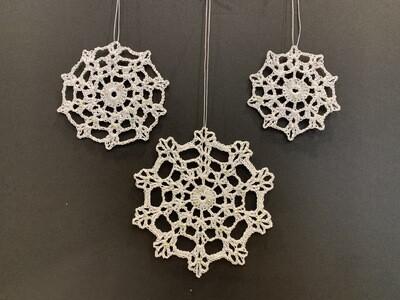 Metalic Trio Snowflakes with Jewels - Set of 3