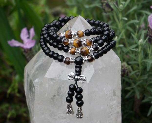 Black Obsidian and Tiger Eye Prayer Beads