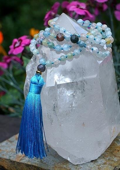 Morganite and Aquamarine 108 Prayer Beads