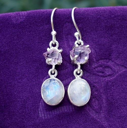 Rainbow Moonstone with Amethyst Earrings