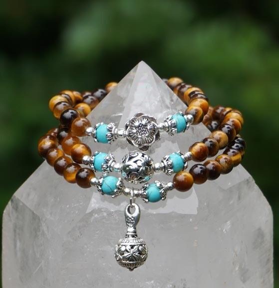 Tiger Eye Bracelet with Lotus Flower