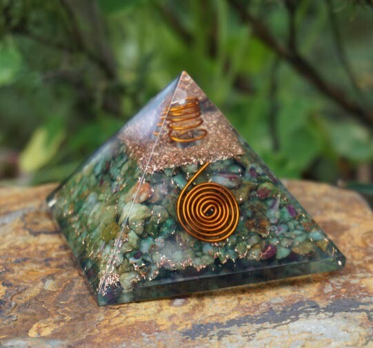 Orgone Pyramid in Ruby Zoisite