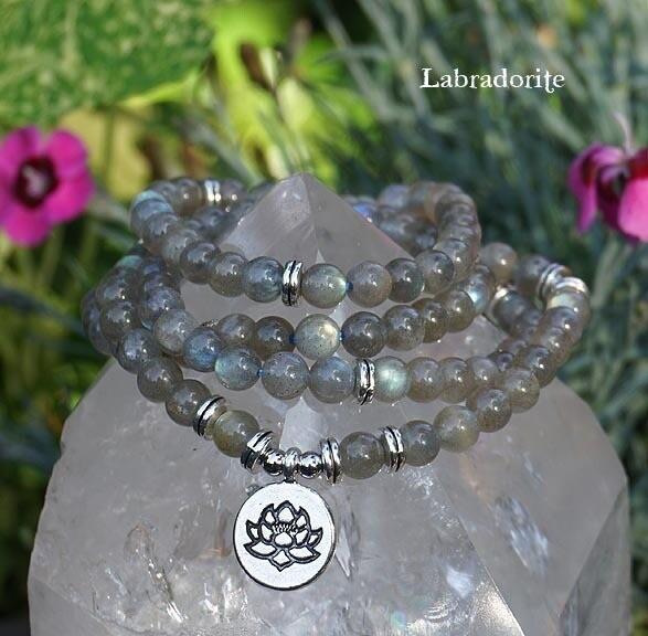 Lotus Gemstone 108 Prayer Beads