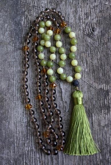 Smoky Quartz, Jade, Serpentine 108 Prayer Beads with silk tassel
