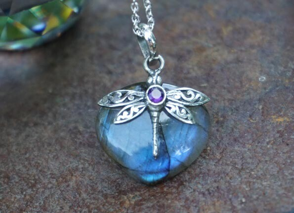 Labradorite, Amethyst and Dragonfly Sterling Silver Pendant