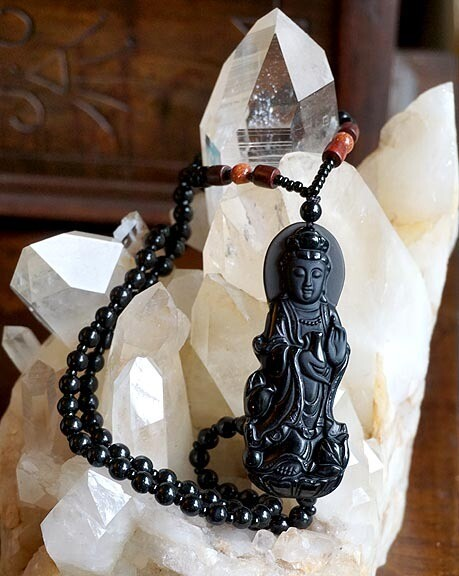 Kuan Yin Obsidian Pendant