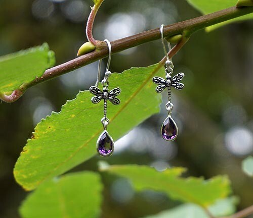 Amethyst and Dragonfly Earrings