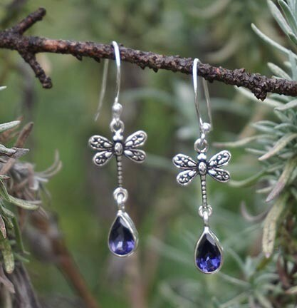 Iolite and Dragonfly Earrings