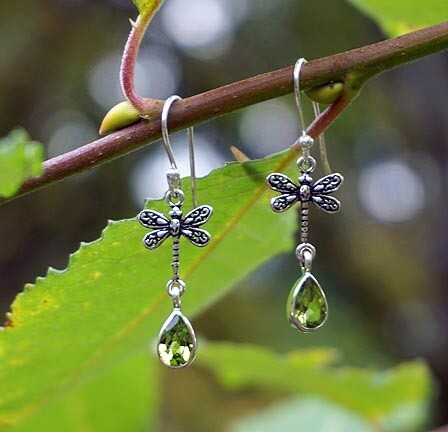 Peridot and Dragonfly Earrings