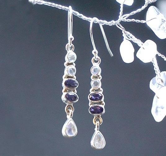 Iolite and Rainbow Moonstone  Earrings