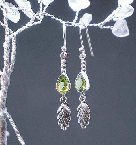 Peridot and Leaves Earrings