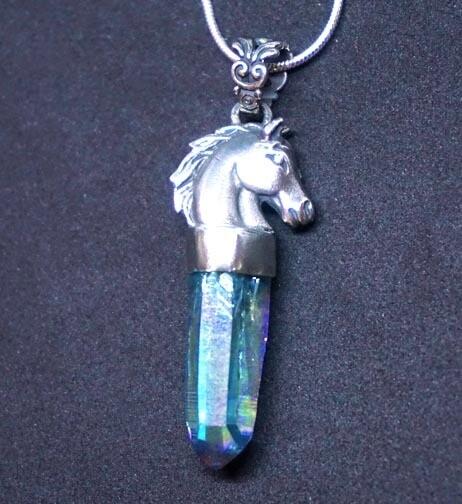 Aqua Aura Crystal Point with Horse Pendant