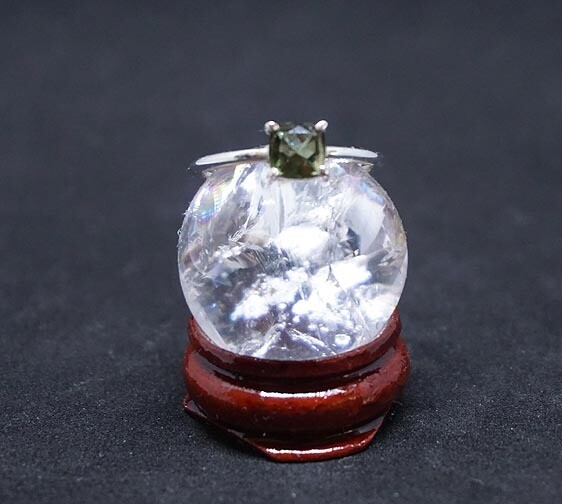 Faceted Moldavite Sterling Silver Ring