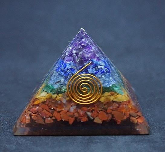 Orgone Pyramid in Chakra Gemstones