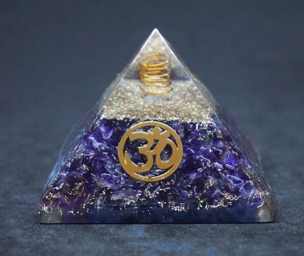 Orgone Pyramid in Amethyst with OM