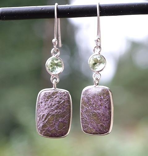 Purpurite  and Green Sapphire Earrings