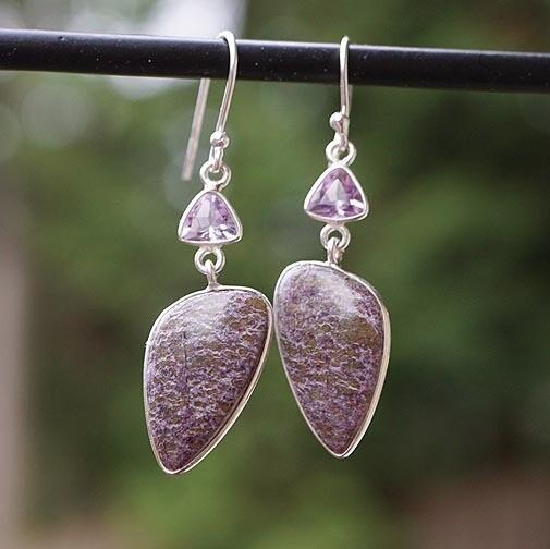 Purpurite  and Amethyst Earrings